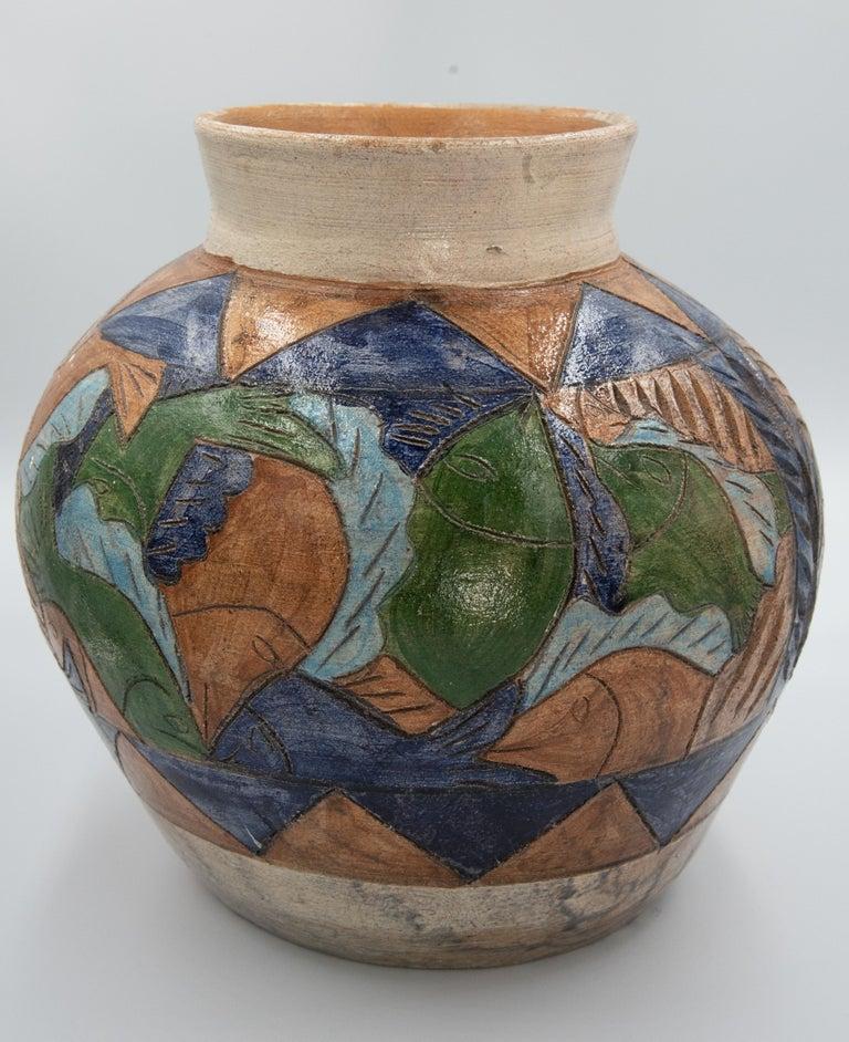 Mexican Antique Dolores Porras Clay Pottery Folk Art Terracotta Fish Vessel Vase For Sale 4