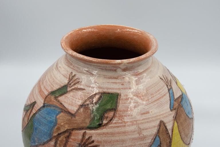 Mexican Antique Dolores Porras Lizard Clay Pottery Folk Art Terracotta Vase In Good Condition For Sale In Queretaro, Queretaro