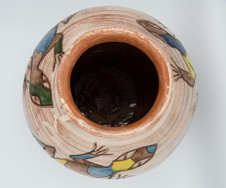 Contemporary Mexican Antique Dolores Porras Lizard Clay Pottery Folk Art Terracotta Vase For Sale