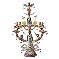 Mexican Antique Style Arbol de la Vida Colorful Folk Art Candelabra Ceramic Clay