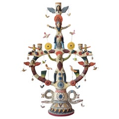 Mexican Antique Style Arbol de la Vida Colorful Folk Art Candelabra Ceramic Clay