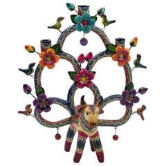 Mexican Arbol de la Vida Bull Tree of Life Bull Colorful Folk Art Ceramic Clay