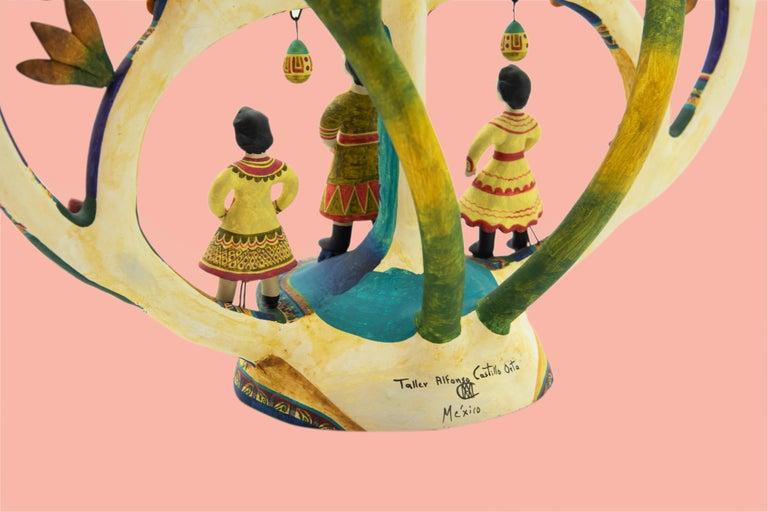 Mexican Arbol de la Vida Bull Tree of Life Dolls Colorful Folk Art Ceramic Clay In New Condition In Queretaro, Queretaro