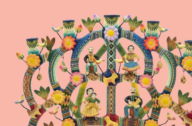 Contemporary Mexican Arbol de la Vida Bull Tree of Life Dolls Colorful Folk Art Ceramic Clay