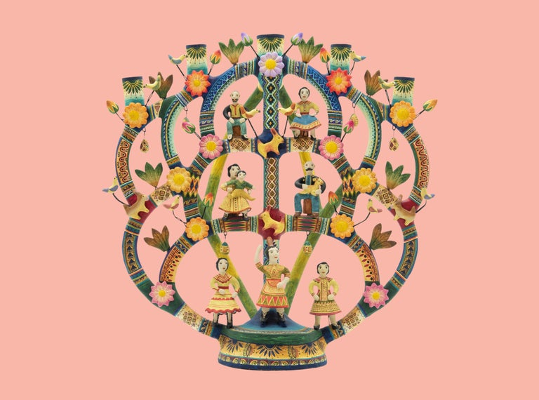 Mexican Arbol de la Vida Bull Tree of Life Dolls Colorful Folk Art Ceramic Clay 1