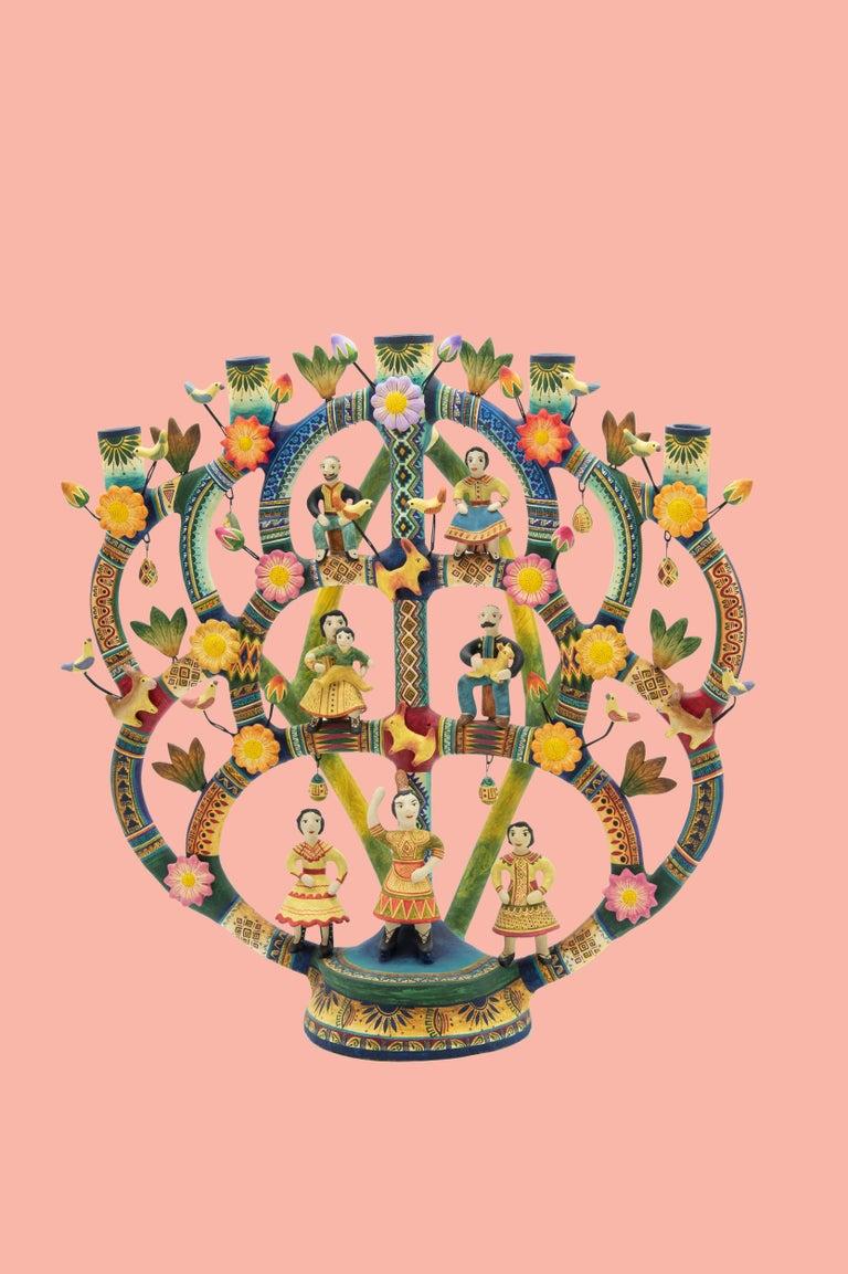 Mexican Arbol de la Vida Bull Tree of Life Dolls Colorful Folk Art Ceramic Clay 3