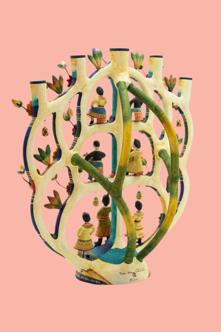 Mexican Arbol de la Vida Bull Tree of Life Dolls Colorful Folk Art Ceramic Clay 4