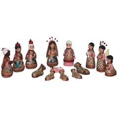 Mexican Artisanal Clay Nativity Set Folk Art Christmas Decoration Pottery