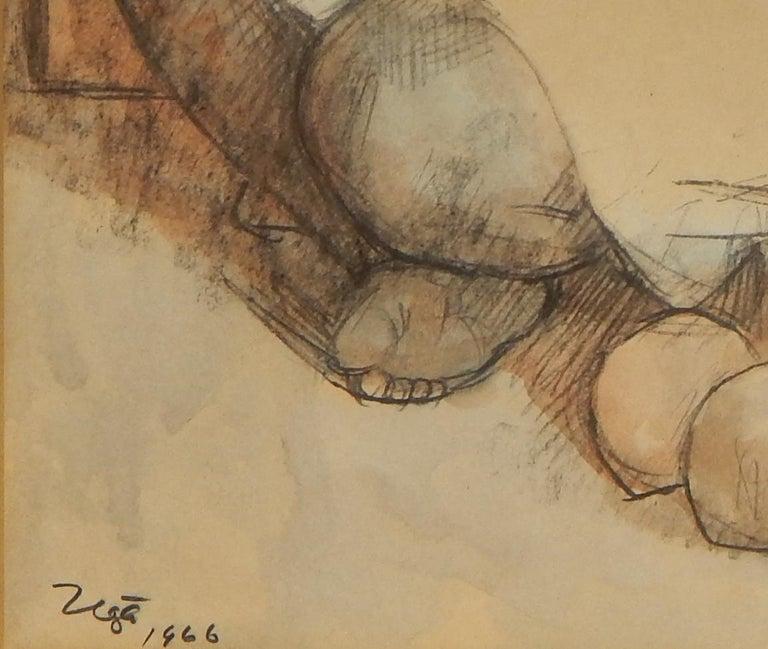 Paper Francisco Zuniga Mexican Artist Watercolor, 1966,