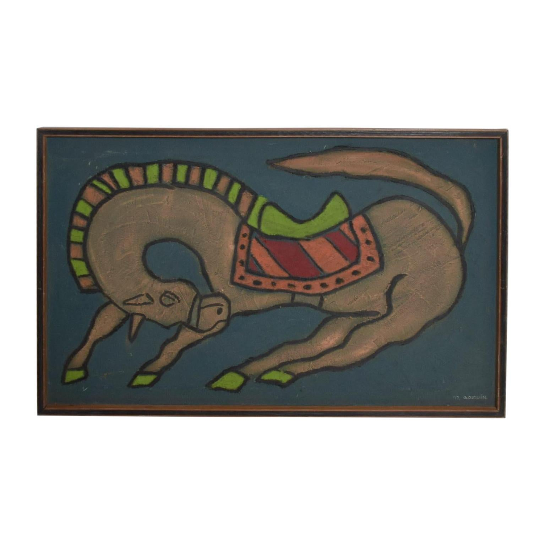 Mexican Artist, Guillermo Olguin, Modern Mixed Media Horse Wall Art, 97