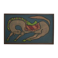Mexican Artist, Guillermo Olguin, Modern Mixed Media Horse Wall Art, 97