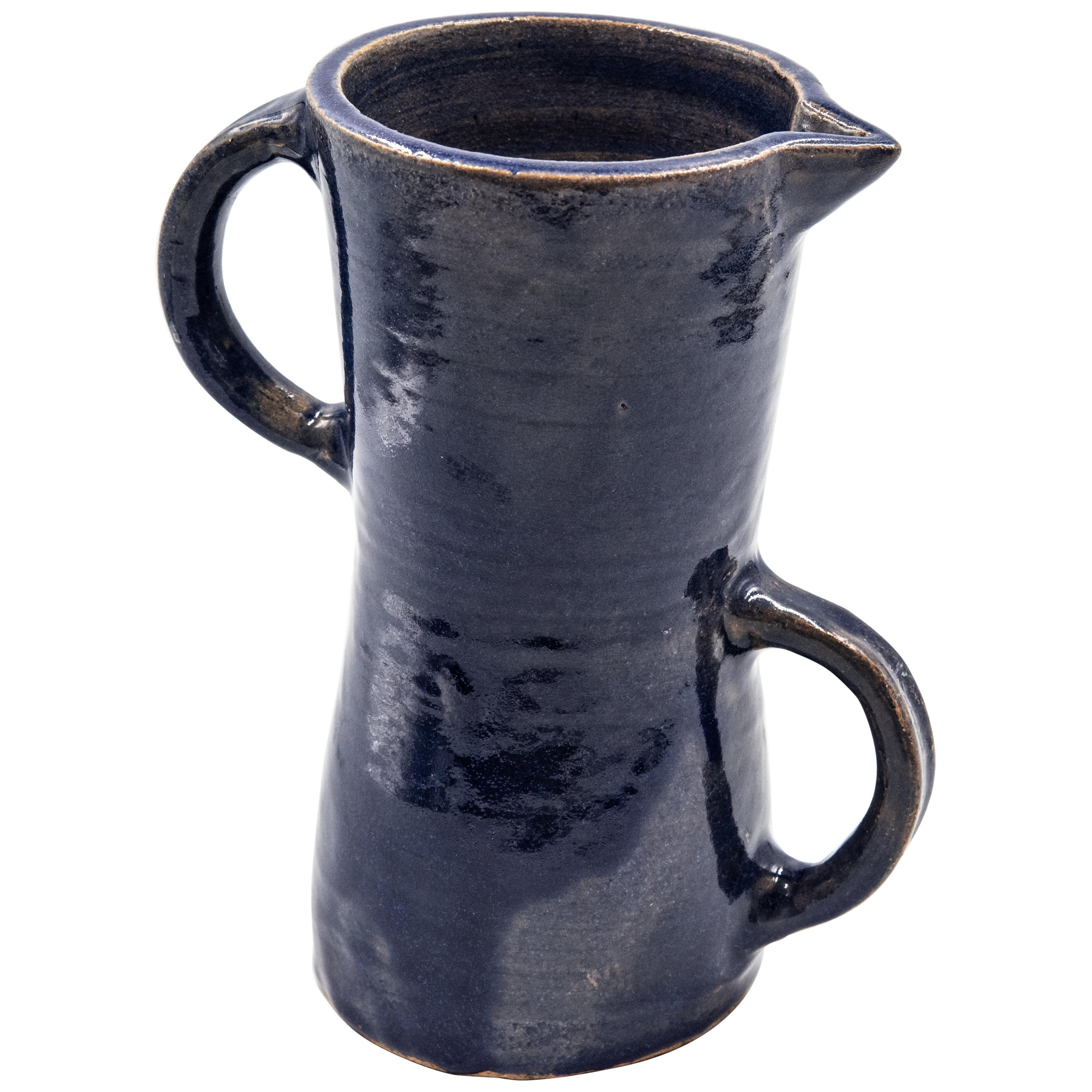 Mexican Blue Ceramic Water Pitcher Rustic Modern Clay Pottery