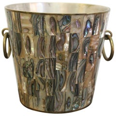 Mexican Brass and Abalone Ice Bucket