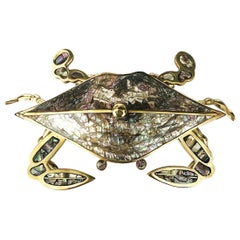 Mexican Brass and Copper Crab Dish by Los Castillo