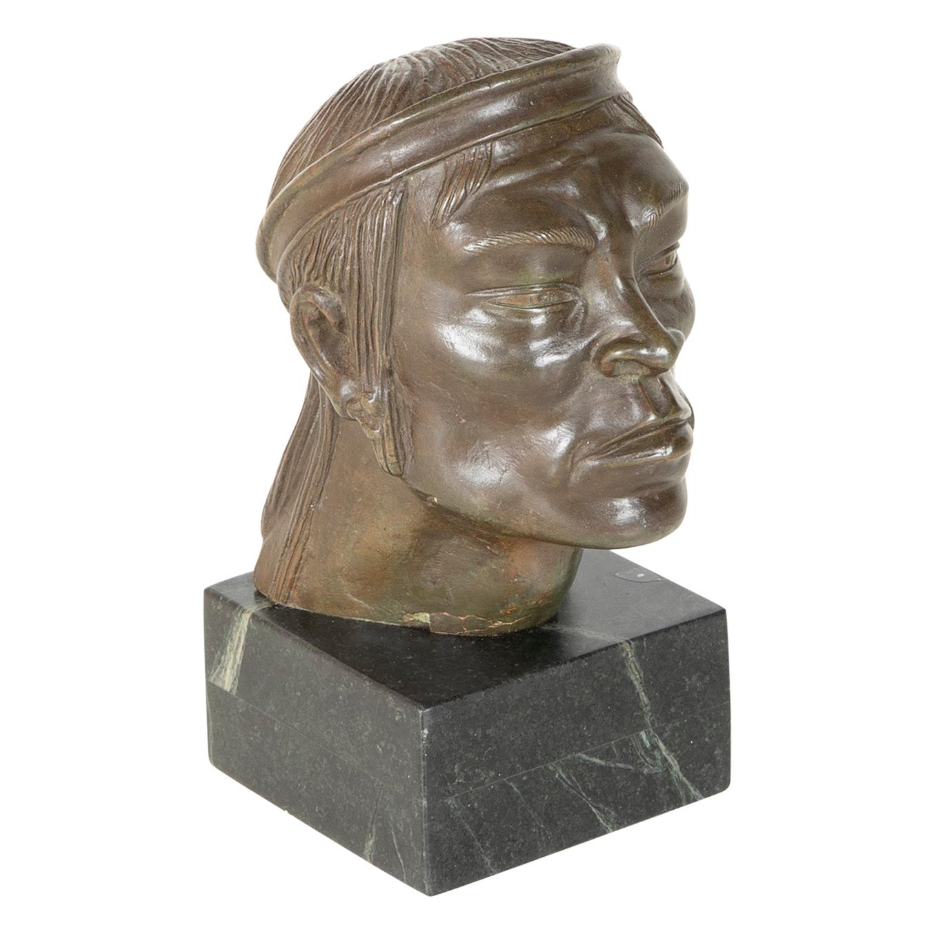 Mexican Bronze Bust, circa 1920s