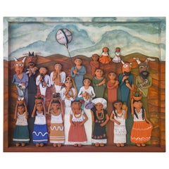 Mexican Burnished Clay Figures Folklore with Wooden Frame Folk Art Oaxaca Wall