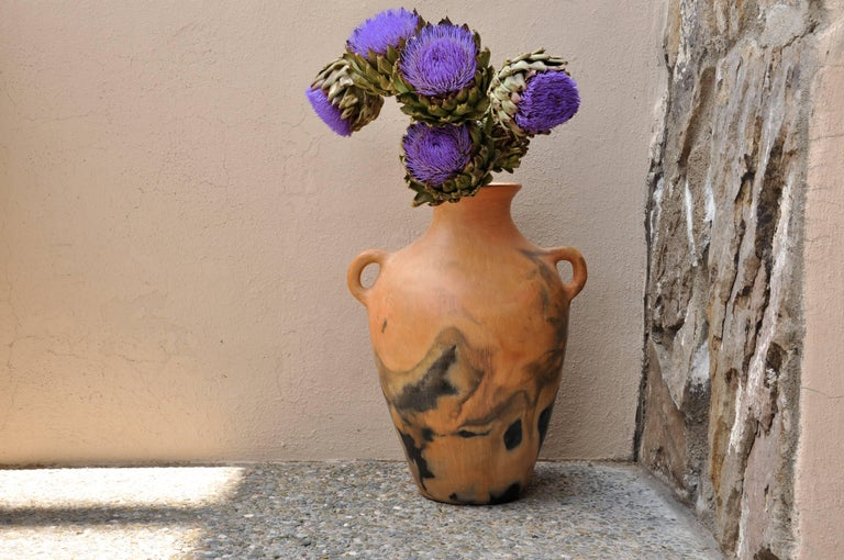 Hand-Crafted Mexican Burnished Clay Folk Art Ancient Pre-Hispanic Handmade Vase with Handles For Sale