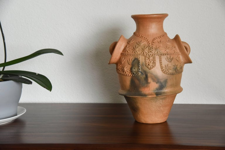 Rustic Mexican Burnished Clay Folk Art Terracotta Handmade Vase with Handles For Sale