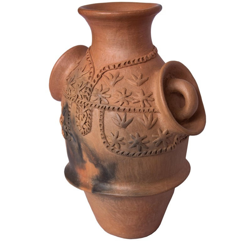 Hand-Crafted Mexican Burnished Clay Folk Art Terracotta Handmade Vase with Handles For Sale