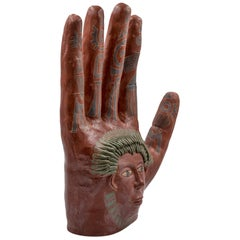 Mexican Burnished Clay Hand Oaxaca Sculpture Mixtec Ceramic with Red Face