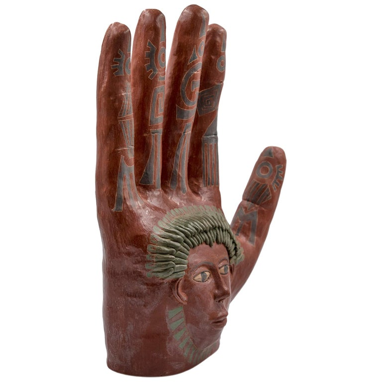 Mexican Burnished Clay Hand Oaxaca Sculpture Mixtec Ceramic with Red Face For Sale