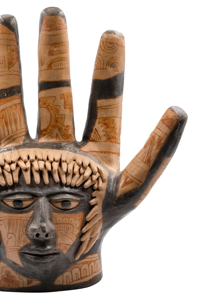 Hand-Crafted Mexican Burnished Clay Hand Oaxacan Sculpture Mixtec Ceramic with Face For Sale