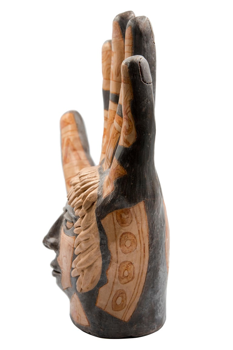 Contemporary Mexican Burnished Clay Hand Oaxacan Sculpture Mixtec Ceramic with Face For Sale