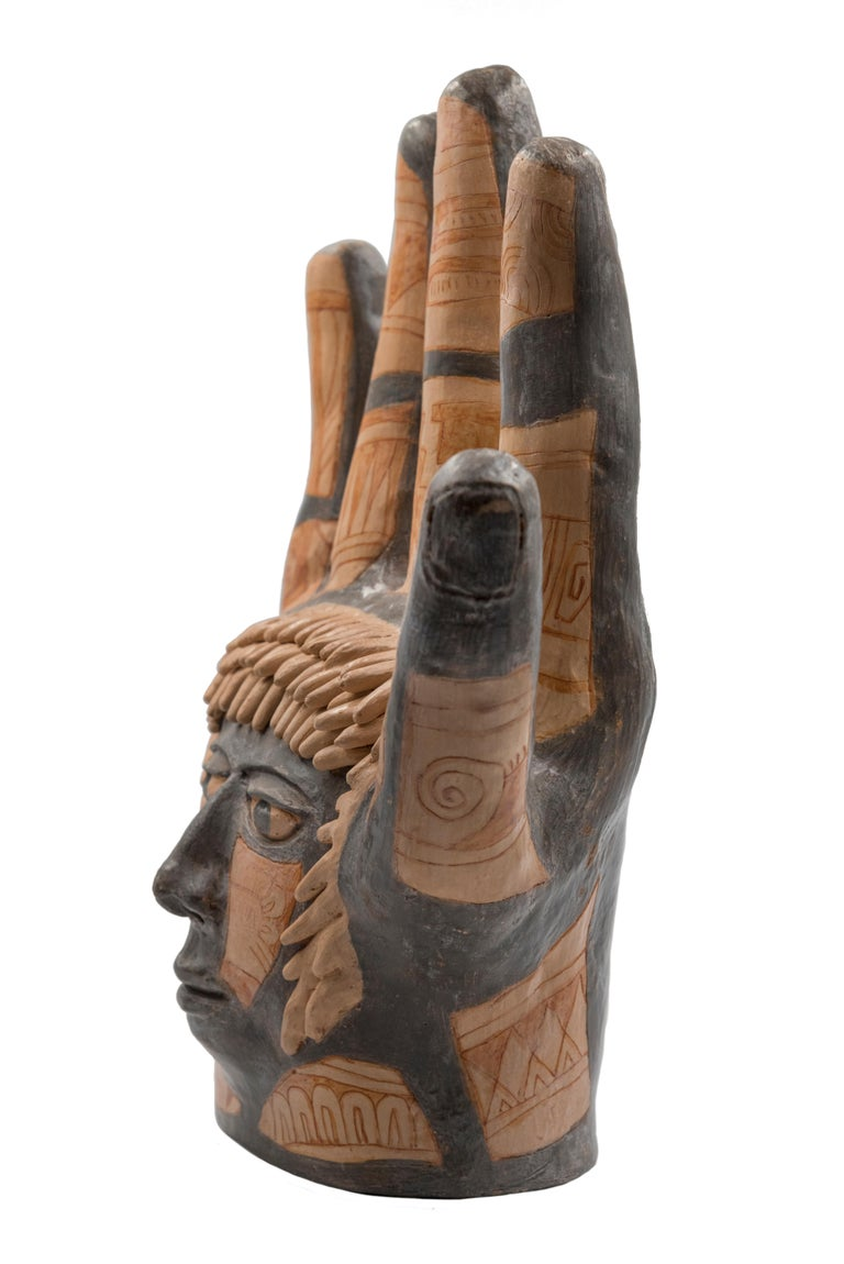 Mexican Burnished Clay Hand Oaxacan Sculpture Mixtec Ceramic with Face For Sale 2