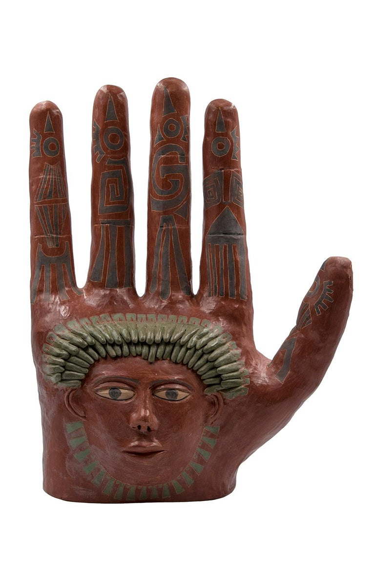 Folk Art Mexican Burnished Clay Hand Oaxaca Sculpture Mixtec Ceramic with Red Face For Sale