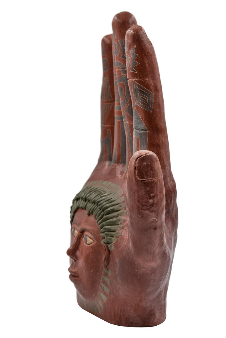 Mexican Burnished Clay Hand Oaxaca Sculpture Mixtec Ceramic with Red Face In New Condition For Sale In Queretaro, Queretaro
