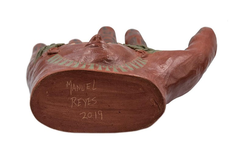Contemporary Mexican Burnished Clay Hand Oaxaca Sculpture Mixtec Ceramic with Red Face For Sale