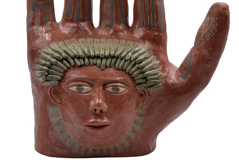 Mexican Burnished Clay Hand Oaxaca Sculpture Mixtec Ceramic with Red Face For Sale 1