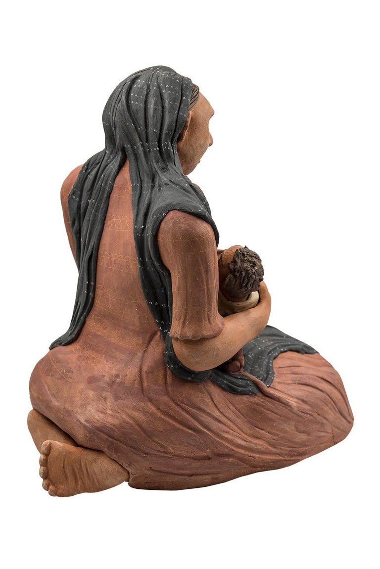Folk Art Mexican Burnished Clay Mother and Child Oaxacan Sculpture Mixtec Ceramic For Sale