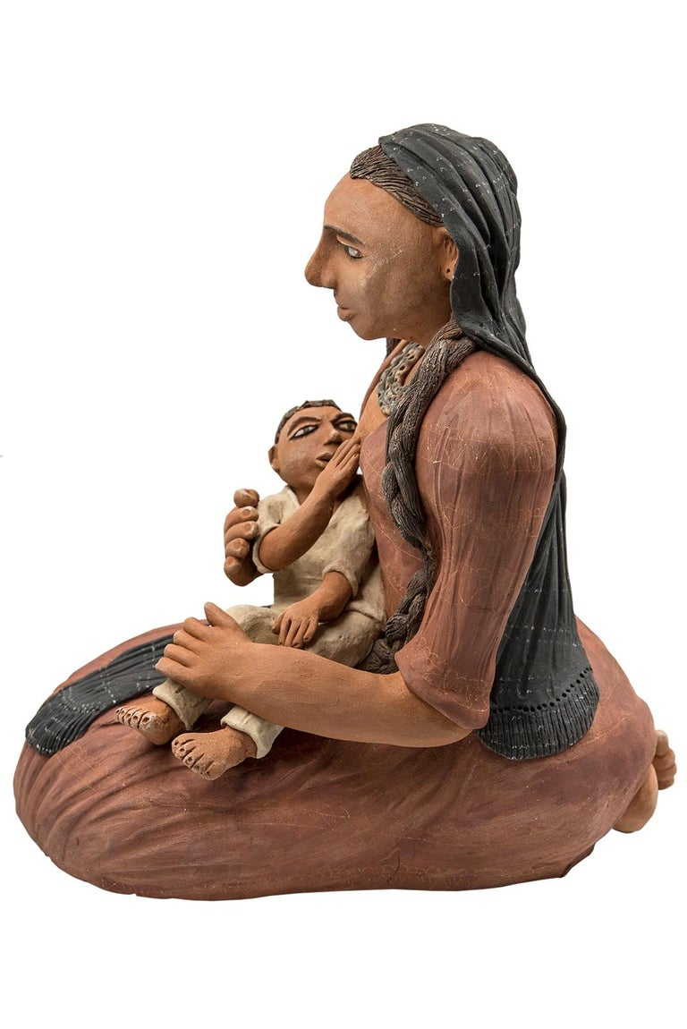 Hand-Crafted Mexican Burnished Clay Mother and Child Oaxacan Sculpture Mixtec Ceramic For Sale