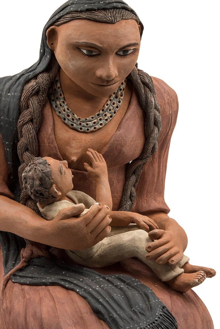 Contemporary Mexican Burnished Clay Mother and Child Oaxacan Sculpture Mixtec Ceramic For Sale