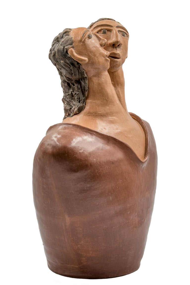 Lovers Torso, a contemporary rustic Mexican sculpture by Manuel David Reyes. This soft piece is one-of-a-kind, made with clay and natural pigments from the Mixtec region in Oaxaca.