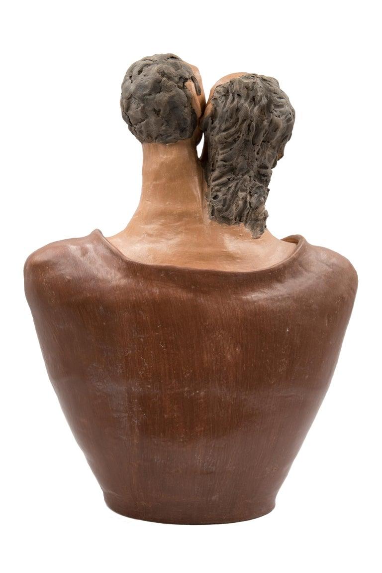 Folk Art Mexican Burnished Clay Romance Torso Heart Couple Statue Contemporary Oaxaca  For Sale