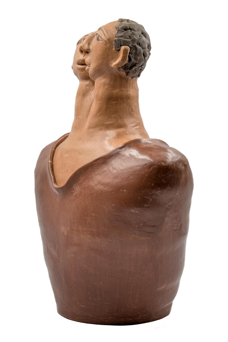 Hand-Crafted Mexican Burnished Clay Romance Torso Heart Couple Statue Contemporary Oaxaca  For Sale