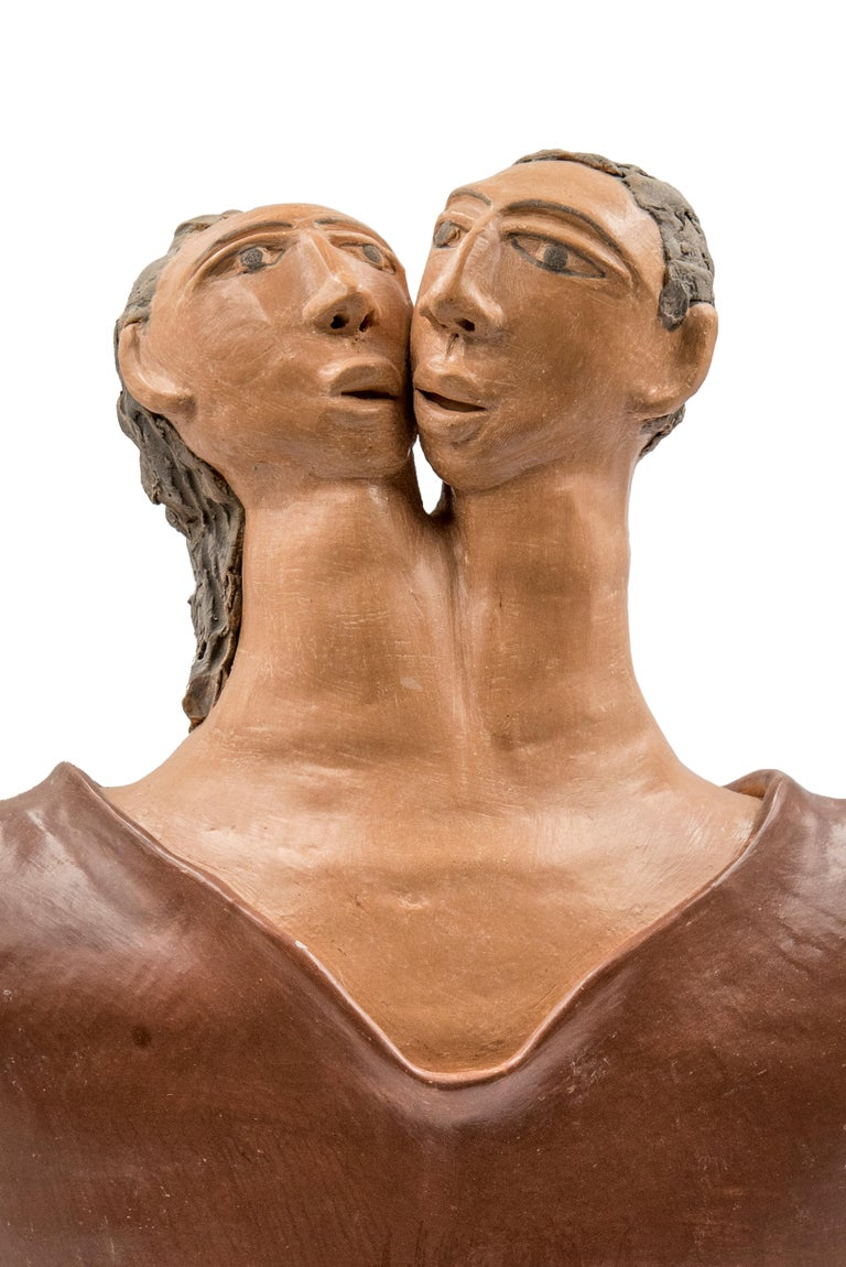 Mexican Burnished Clay Romance Torso Heart Couple Statue Contemporary Oaxaca  In New Condition For Sale In Queretaro, Queretaro