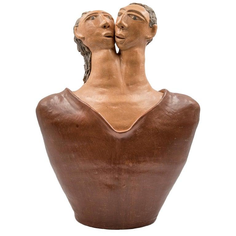 Mexican Burnished Clay Romance Torso Heart Couple Statue Contemporary Oaxaca  For Sale