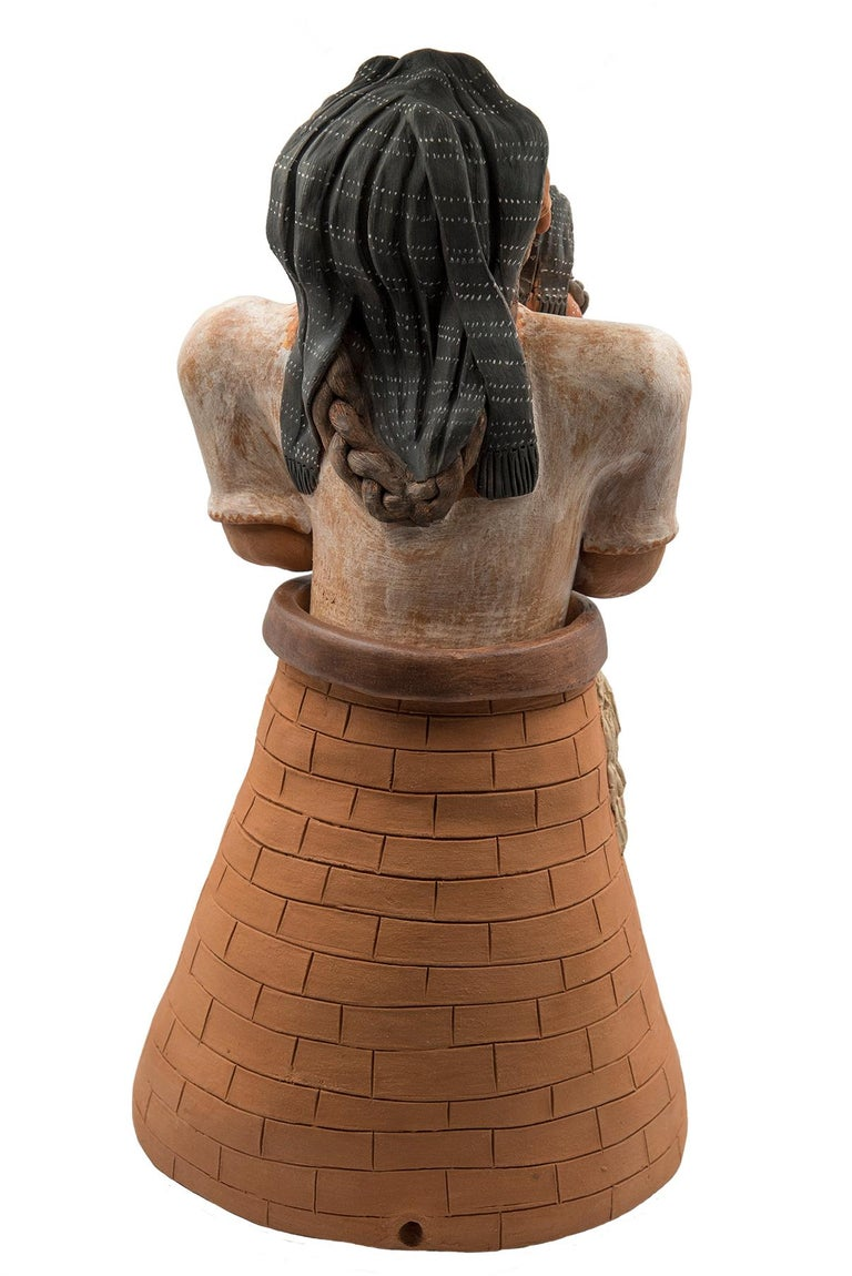 Hand-Crafted Mexican Burnished Clay Woman with Child Oaxacan Sculpture Mixtec Ceramic For Sale
