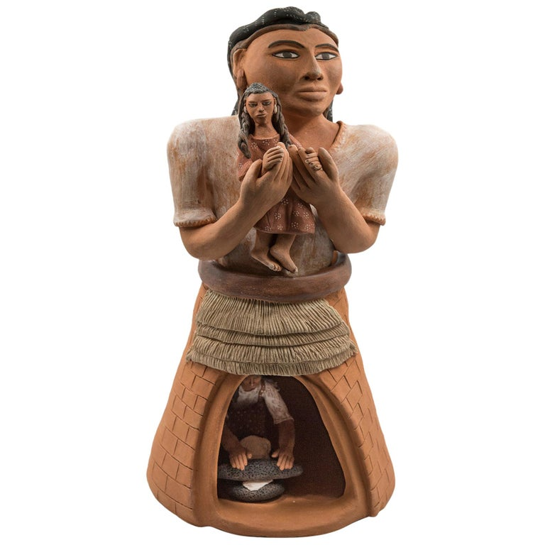 Mexican Burnished Clay Woman with Child Oaxacan Sculpture Mixtec Ceramic For Sale