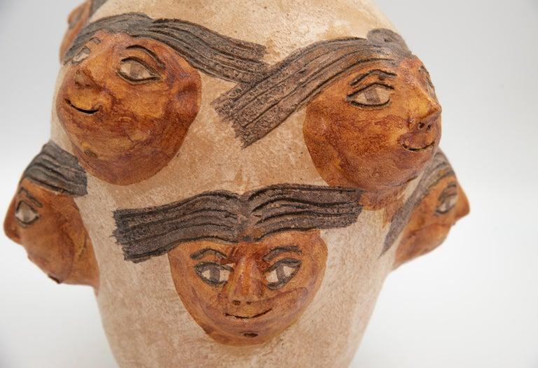 Varnished Mexican Ceramic Jug with Faces Dolores Porras Folk Art Decorative Vessel For Sale