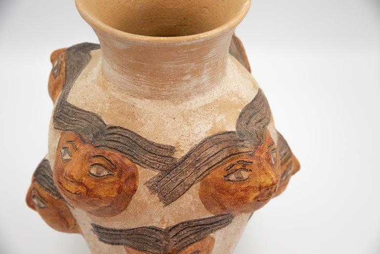 Mexican Ceramic Jug with Faces Dolores Porras Folk Art Decorative Vessel In Good Condition For Sale In Queretaro, Queretaro