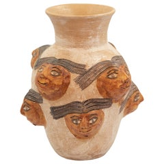 Mexican Ceramic Jug with Faces Dolores Porras Folk Art Decorative Vessel