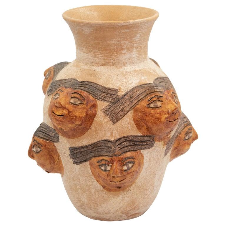 Mexican Ceramic Jug with Faces Dolores Porras Folk Art Decorative Vessel For Sale