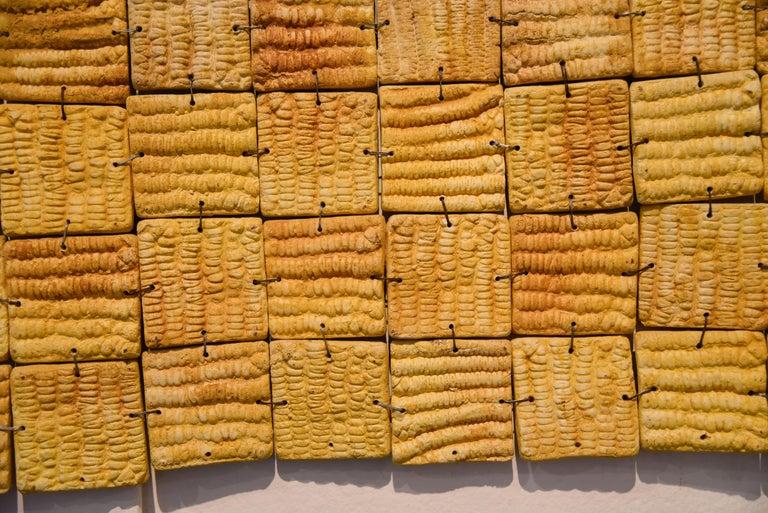 Mexican Ceramic Yellow Wall Hanging 2016 Clay Decoration Puzzle Maze Impressions In New Condition In Queretaro, Queretaro