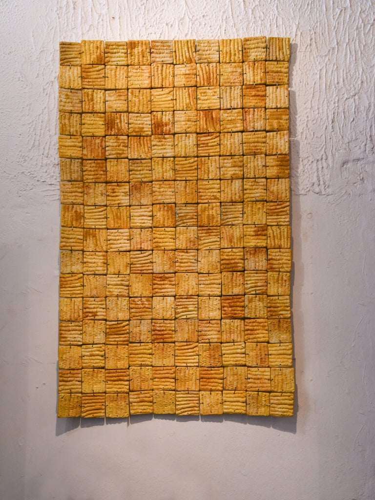 Contemporary Mexican Ceramic Yellow Wall Hanging 2016 Clay Decoration Puzzle Maze Impressions