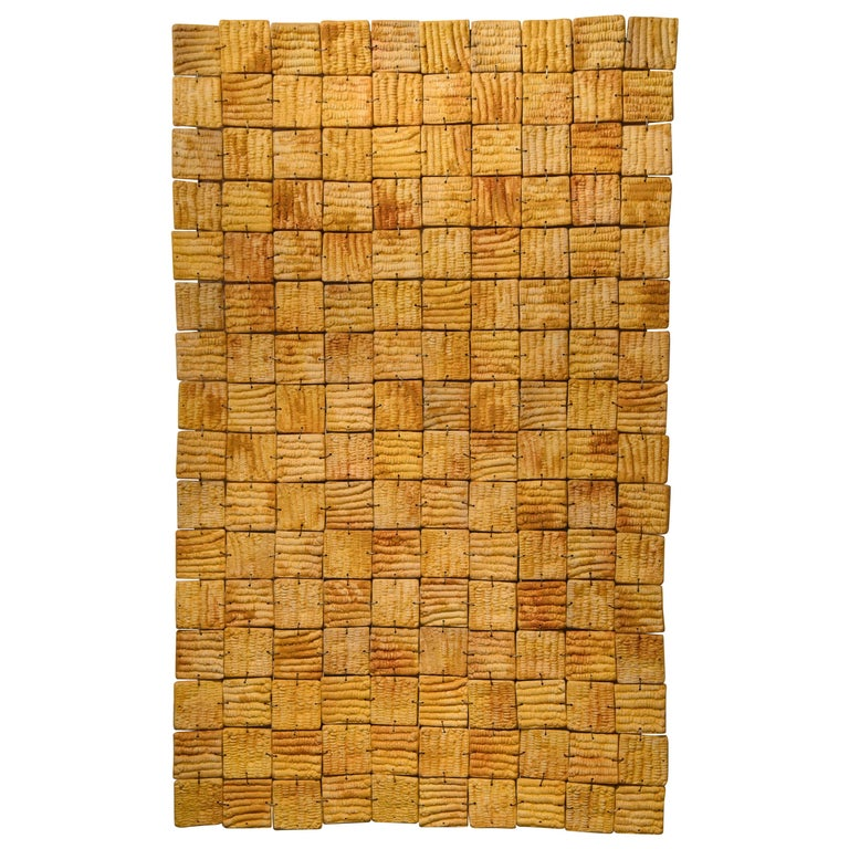 Mexican Ceramic Yellow Wall Hanging 2016 Clay Decoration Puzzle Maze Impressions