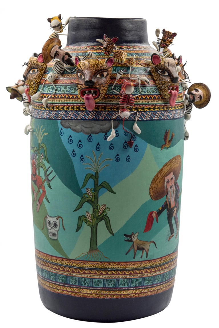 Mexican Colorful Folk Art Ceramic Vase Tecuanes Dance Vessel In Excellent Condition For Sale In Queretaro, Queretaro